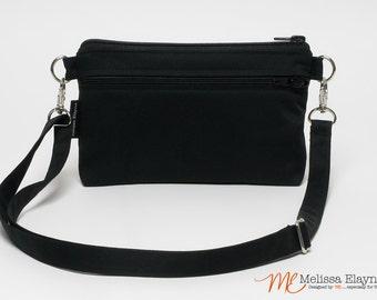 Medium Cross-body Purse, iPhone 6 or 7 Plus -Black Linen