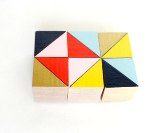 Price Drop! | | Brooklyn Block Magnets | | 6 Count Set | | Wooden | | Geometric | | Office and Kitchen Decor | | Yellow Navy Gold