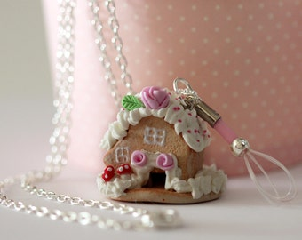 Fairy House Necklace -Gingerbread House Necklace - Fairy Tale Necklace - Kawaii Necklace