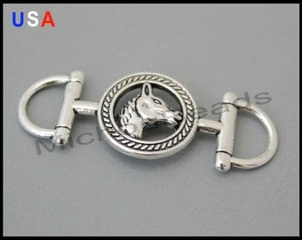 1 HORSE Stirrup Charm Connector - 42x14mm Horse Snaffle Link Connector - Horse Bit Equestrian Charm - USA Wholesale Charms - 5990