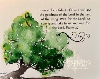 Watercolor painting of Old Oak Tree with Bible verse original fine art scrolls