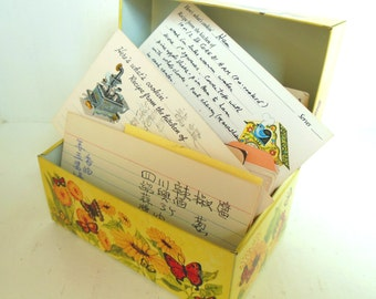 Vintage Chinese Recipe Box Metal Butterflies Filled with Recipes 1950's (item 7)