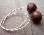 Brown Earrings - Simple Earrings - Minimal Earrings - Modern Silver Earrings - Silver Hoop Earrings - Sterling Silver Hoops - Gift Idea