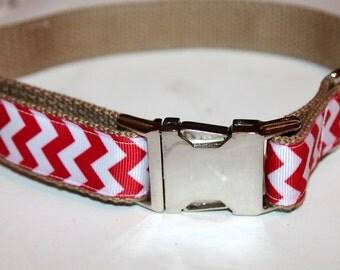 Chevron Dog Collars Red and Khaki Dog Collar and Leash Preppy Dog Collar Pet Collar Ribbon Dog Collar Chevron pet Collar Chevron Dog Leash