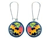 Pendant Butterfly Wing Earrings - Real Sunset Moth Butterfly Wing Pendant Earrings