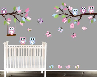 Nursery Branch decal, owl wall decals with butterflies, birds and owls wall decal, nursery decals