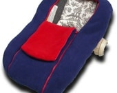 Navy/Red NUZZLER with red trim - Infant Car Seat Cover, Warm Polartec 200 - REVERSIBLE, Navy one side, Red one side