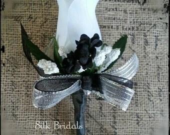 White black silver Boutonniere rose Groom groomsman bridal silk wedding flowers best man father prom