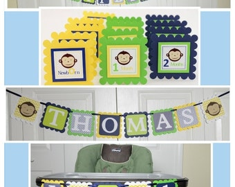 Monkey Party Package, Monkey 1st Birthday Party, Monkey Theme, Lime Green, Yellow and Navy Blue, pp-1006, c-1150