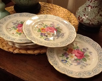 Royal Albert Fragrance Pattern Antique Bread and Butter Plates Bone China England 1940s
