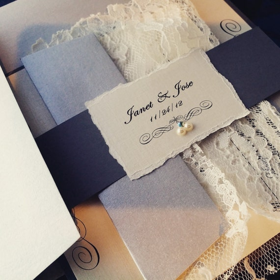 Deckeled edge Monogram and lace Wedding Invitation Suite - Gray / Silver / Ivory
