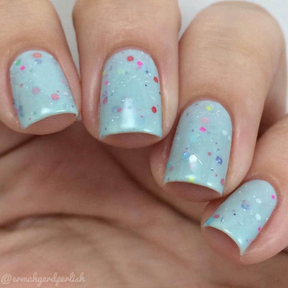 Cotton Candy Satin Fingernail Polish: Blue Cotton Candy Crelly Glitter 5 Free Nail Polish By MDJ