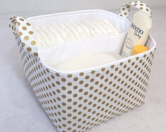 "Metallic Gold LG Diaper Caddy 10""x10""x7"" Fabric Storage Bin, Basket, Antique Gold Small Polka Dot on White with White Lining"