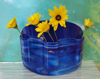 Flower Vase, Fused Glass Table Vase, Blue Floral Vase with Dolphins, Bud Vase, Flower Holder, Gifts Under 75 Dollars, Beach Home Gifts