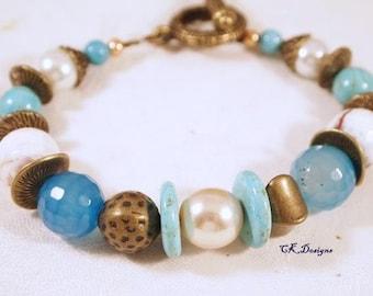 SALE Chunky Beaded Bracelet, Pearls Brass Turquoise Beaded Bracelet. OOAK Handmade Bracelet. CKDesigns.US