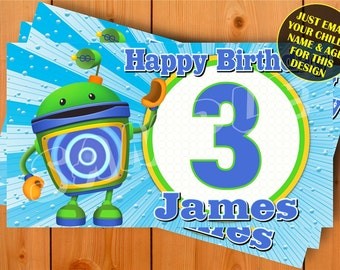 Team Umizoomi Bot Personalized Birthday Banner with a free printable DIY Invitation - Just email child's name, age and photo for any design