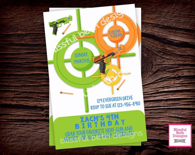 Nerf Inspired Birthday Invitation, Personalized Nerf Birthday Printable Invitation, Dart Invitation, Nerf Birthday, Dart Birthday Invitation