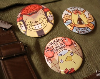 studio ghilbi catbus kiki's spirited away pinback buttons
