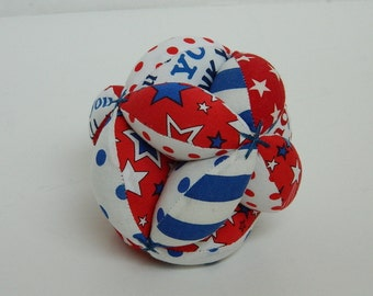 Montessori Toy Ball - Clutch Ball - Baby Soft Toy - Baby Shower - Puzzle Ball - Baby Grab Ball - Red White Blue Toy Ball - Patriotic Toy