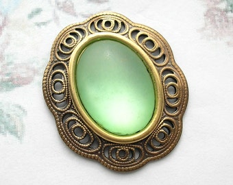 Frosty Peridot Glass Pendant in Antiqued Brass