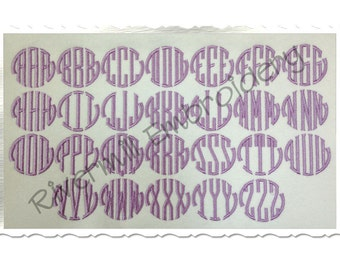 """1 1/2"""" Size ONLY - Seal Monogram Machine Embroidery Font Alphabet"""