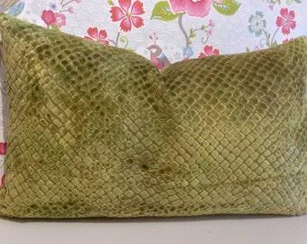 SNAKESKIN pattern velvet lumber rectangle ACCENT cushion cover Pillow Sham in tones of apple, lime green from Designers Guild SANTERNO range