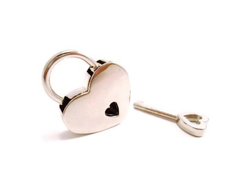 Small Heart Lock, Silver heart lock, Collar heart lock