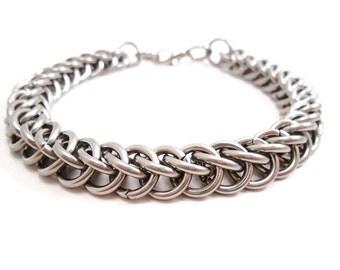 Men's Stainless Steel Bracelet, Steel Chainmail Bracelet, Stainless Steel Jewelry for Men, Chainmaille Jewelry, Mens Bracelet