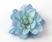 Icy Blue Flower Clip --- Small Floral Hair Clip --- ONE piece - Pretty Girl Light Pale Sky Blue Realistic Flower Spring Hairstyle Accent