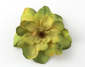 Olive Green Flower Hair Clip --- Small Hair Clip --- ONE Piece --- Olive Yellow Khaki Green Color - accent hairstyles or give as gift
