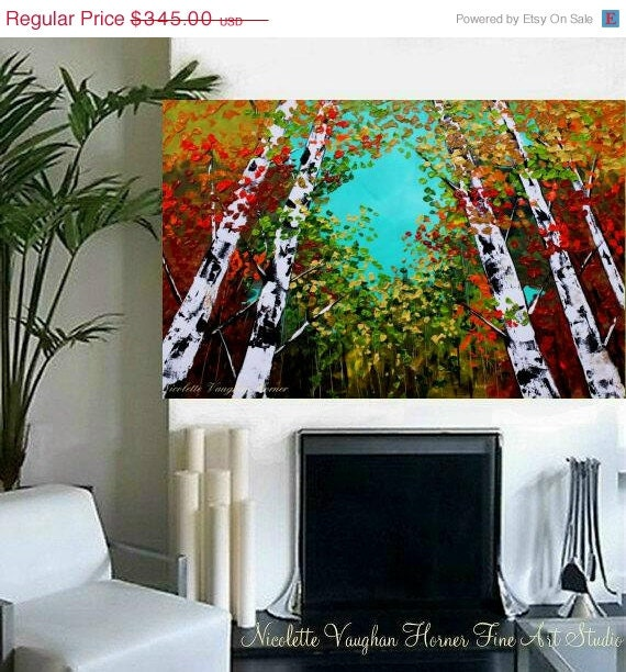 "SALE Oil Landscape painting Abstract Original Modern 36"" palette knife Birch Trees oil  impasto oil painting by Nicolette Vaughan Horner"