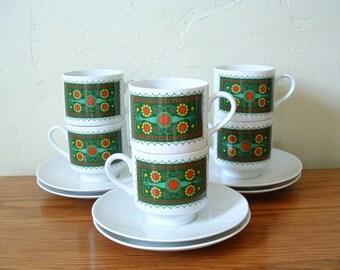 Vintage Schumann Floral Coffee Cups Saucers Set of 6 Mid Century Coffee Cups Tea Cups Espresso Demitasse Arzberg Bavaria Germany 60s Teacups