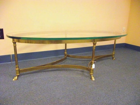 Labarge Table Hollywood Regency Brass Hoof Glass Top Coffee