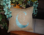 Personalized Burlap Envelope Throw Pillow Cover Any Initial Wedding Gift Shower Gift Machine Embroidered