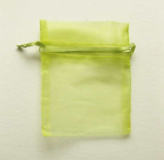 Set of 10 Lime Green (6x9) Organza Bags