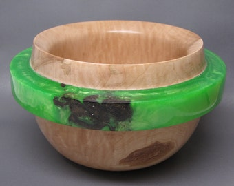 "Handcrafted Wooden Bowl made of Western Figured Maple with a Green Pearl ""OUTLAY"" - Collectible Art, Wedding Gift, Contemporary, Modern art"