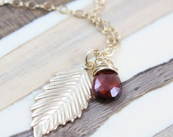 Gold Leaf Necklace, Gold Necklace, Leaf Pendant Necklace, Charm Leaf Necklace, Charm Necklace, Gold Leaf Pendant Necklace, Garnet Necklace