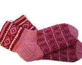 Pink socks, red pink socks, Hand knit wool socks eco friendly socks house socks boots socks winter accessories Nordic ornaments US 10-10 1/2