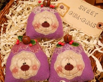 Primitive Whimsical Country Christmas SUGARPLUM GUM DROPS Bowl Fillers Ornaments Ornies