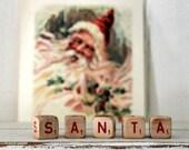 Vintage Wood Letter Cubes Word SANTA