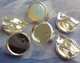 10 clip on earing settings, Ø12mm tray, silver