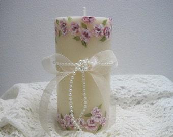 Victorian Cherry Blossom Decorative Pillar Candle