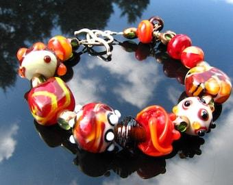 Lampwork Bracelet Handmade Beads Handcrafted Wearable Art Jewelry SRA SRAJD
