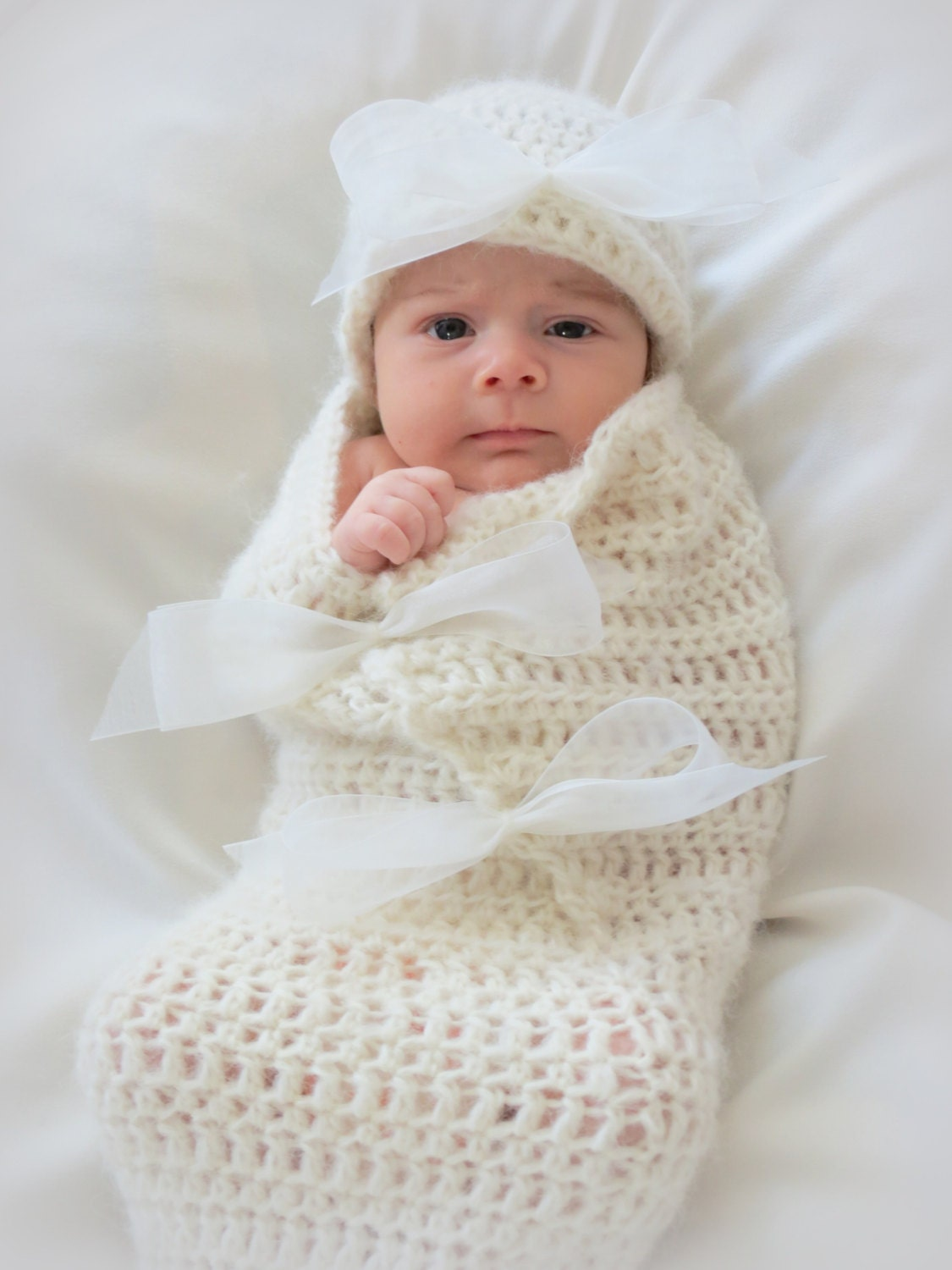 Easy Crochet Baby Cocoon Pattern : Crochet Baby Cocoon and Hat Pattern Newborn Photo Prop