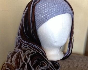 Crochet yarn Hat Hair wig,women, baby, kids, Gray, black and brown hair, wig, yarn wig, hat wig Halloween wig costume in 3 different colors