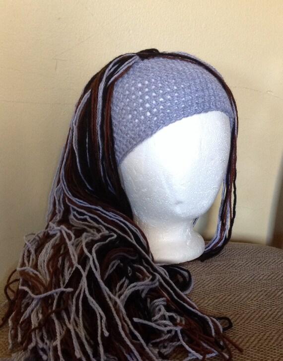 Crochet Hair Hat : Crochet yarn Hat Hair wig,women, baby, kids, Gray, black and brown ...