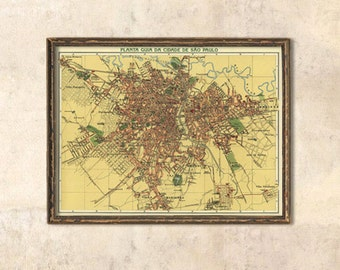 Sao Paulo map - Antique map  - Vintage map of Sao Paulo -  Fine reproduction