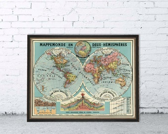 Mappemonde en deux hemispheres - World map in two hemispheres  - Old map giclee reproduction