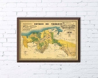 Map of Tabasco - Old map restored - Fine print