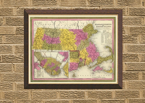 Massachusetts map - Rhode Island map   -  Archival print